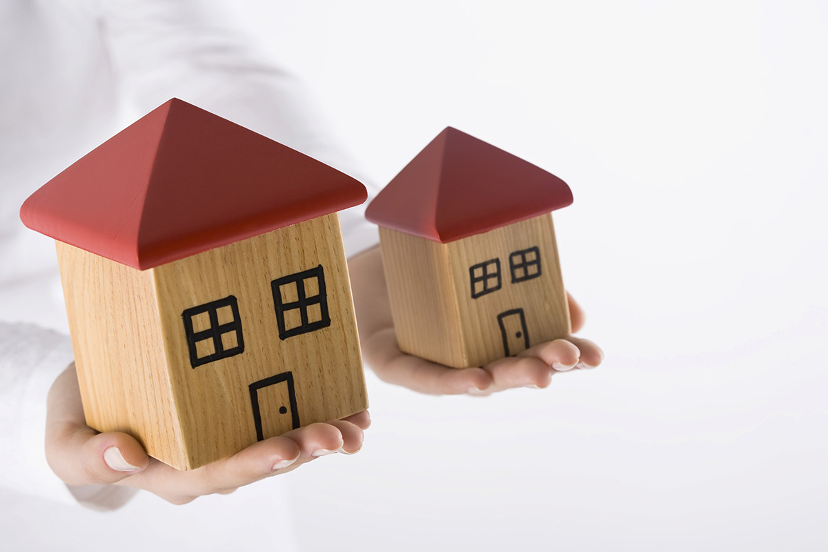 Wooden models of big and small house