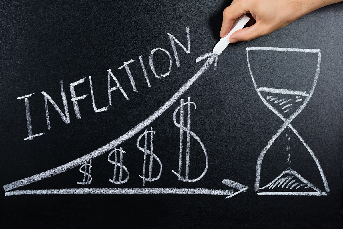 Inflation drawing on chalkboard
