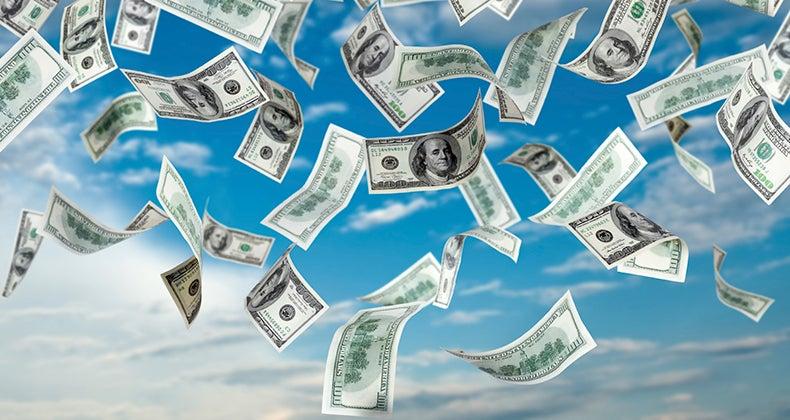 Dollar Bills falling from sky