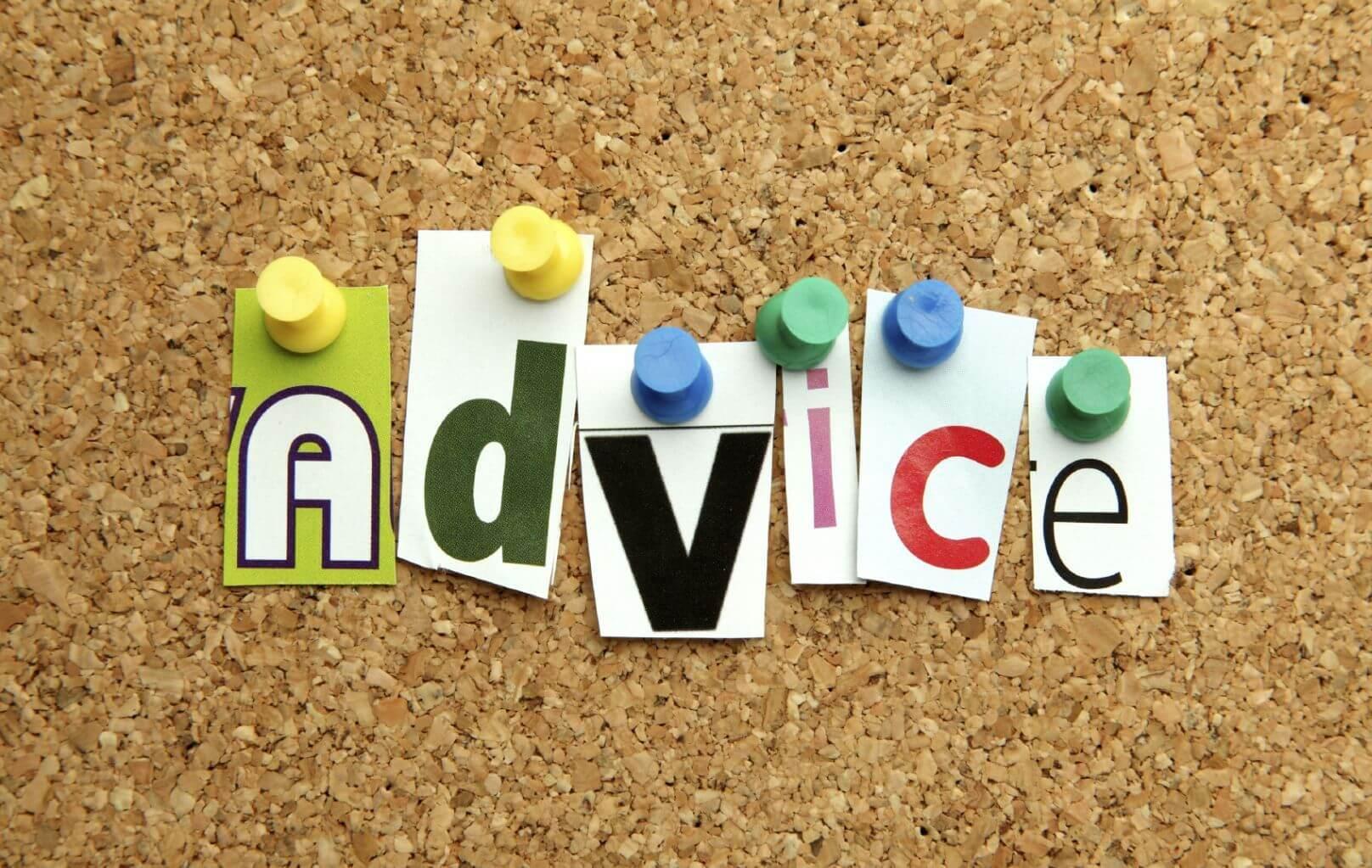 Word advice tacked up on corkboard